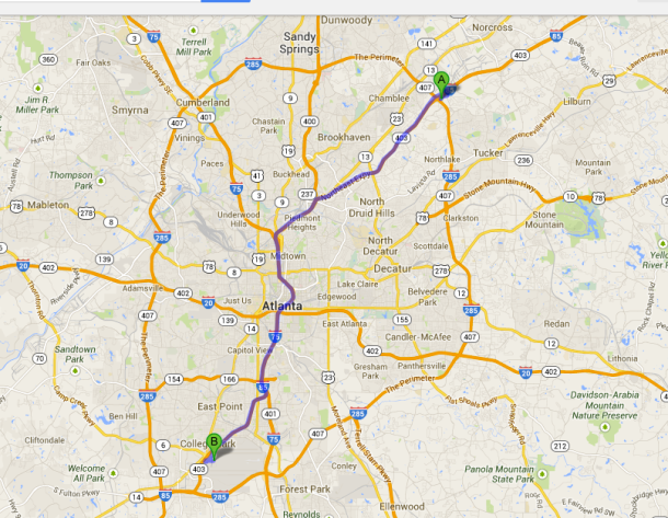 Map of Atlanta B is location of Airport / A is location of Silverbacks Stadium