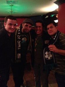 L to R: Borough Boys member, Antonio (Cosmonaut Chronicles), Cesar (This Is Cosmos Country), Cesar yours truly (Cosmos Soccer Fan)