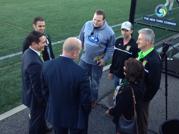 Cosmos COO Erik Stover With The Newtown Pride At Half Time