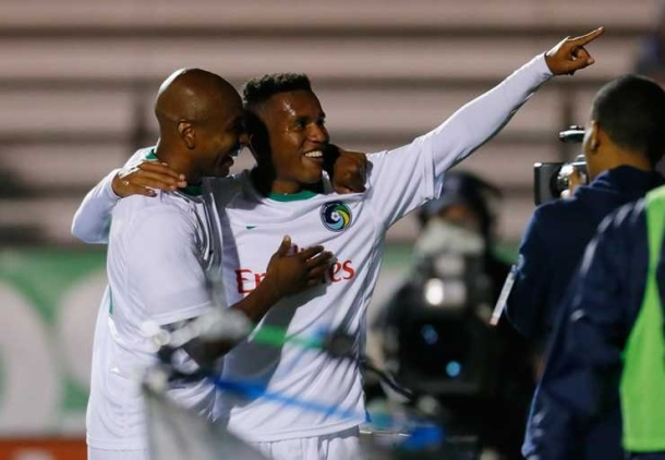 Diomar Diaz celebrates after his 5th goal of the year. (Photo courtesy of NYcosmos.com)