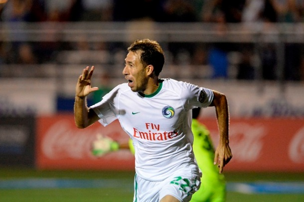 Noselli Scores The Winning Goal During The Cosmos Home Opener On 8/3/13 (photo courtesy of Daniel Budusoff)