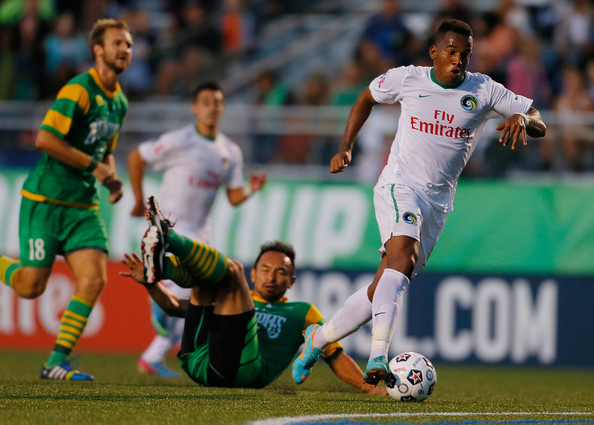 Diomar Diaz Scores The 3rd goal Against The Rowdies (photo courtesy of Soccer By Ives)