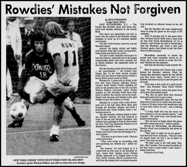 Newspaper Clipping On 1978 Soccer Bowl