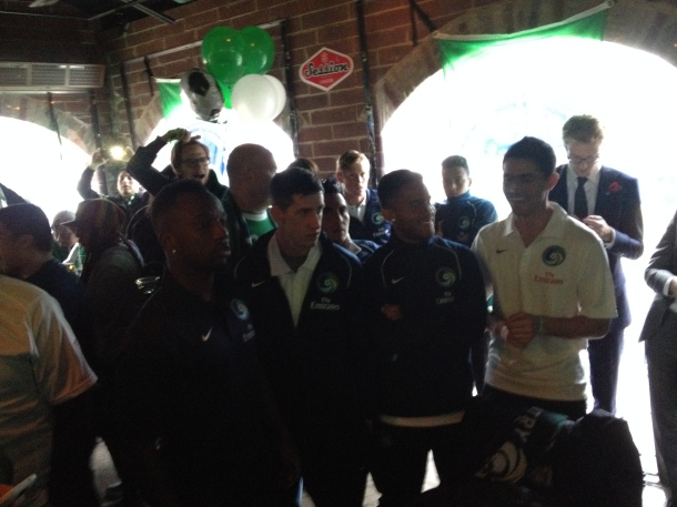 Cosmos PLayers Pose With Cosmos TV's Michelle Gearity