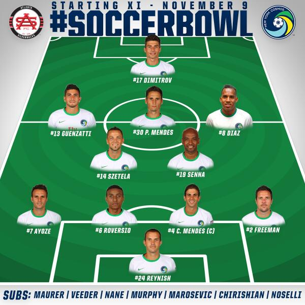 2013 Soccer Bowl Lineup Vs Atlanta Silverbacks  (Photo Credit - NY Cosmos)