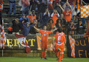 Brian Shriver Scored Two Goals When They Beat The Cosmos 3-0 on 8/18/13.