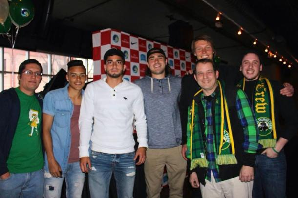 Members Of The Cross Island Crew pose w/ Cosmos PLayers David Diosa, Sebastian Guenzatti, Jimmy Ockford and Mads Stokkelien. Photo Credit - Eytan Calderon