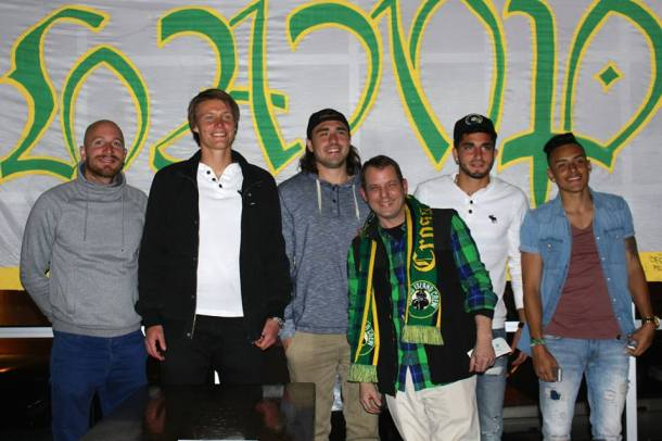 Cosmos Players From Left To Right - Hans Denissen, Mads Stokkelien, Jimmy Ockford, Sebastian Guenzatti and David Diosa pose with Eytan from the Cross Island Crew Photo Credit - Eytan Calderon