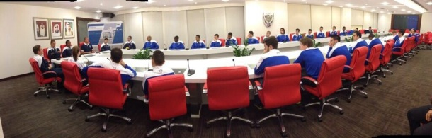 The team at a meeting in Dubai - photo courtesy of the NY Cosmos