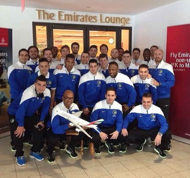 The Team Leaving Emirates Terminal At JFK - Photo Credit Diomar Diaz Instagram