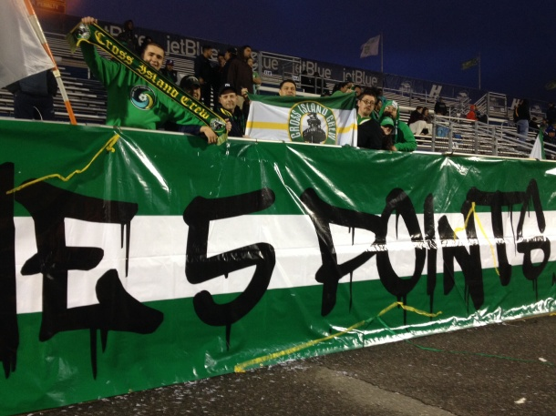 Cross Island Crew members at halftime. Photo credit - Cosmos Soccer Fan
