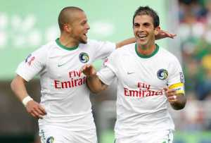 Szetela celebrates with Carlos Mendes after one of his two goals - Photo Credit - Katie Hammock - NY Cosmos
