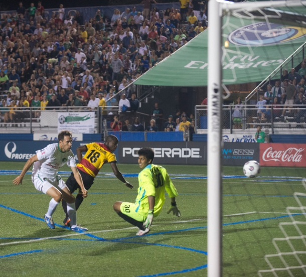 Noselli scores the game winner last August against the Ft Lauderdale Strikers! Photo Credit - Don Pollard