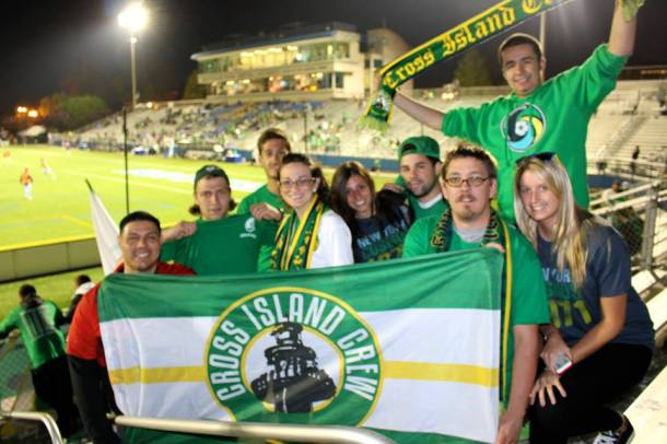 Members of the Cross Island Crew enjoying their support for the NY Cosmos  (photo credit - Eytan Calderon)