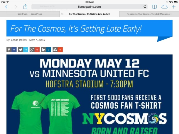 LIB Magazine's continuous coverage of the New York Cosmos!