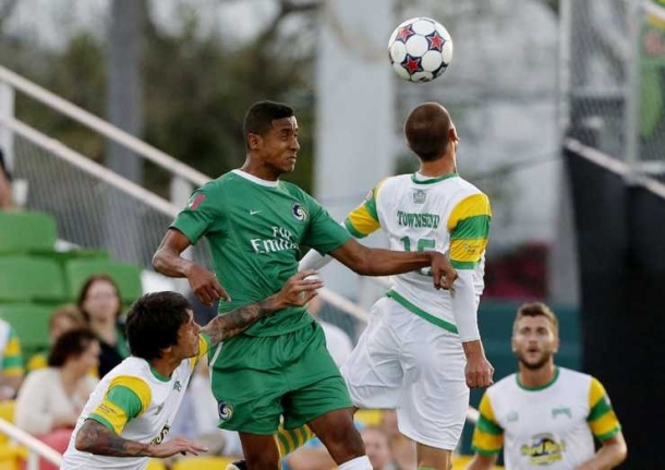 Roversio battling for a header - photo courtesy of NY cosmos