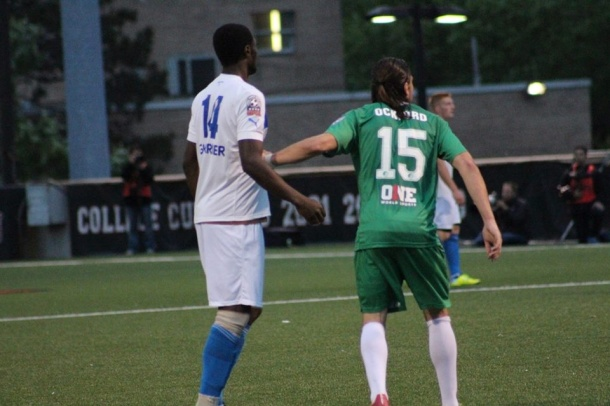 In his professional soccer debut Jimmy Ockford scores a goal for the Cosmos. Photo Credit - Eytan Calderon