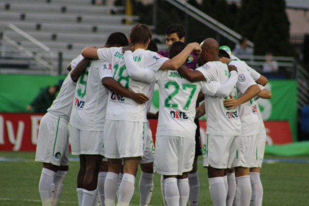 Cosmos huddle before an important match against Minnesota United FC - photo credit Eytan Calderon