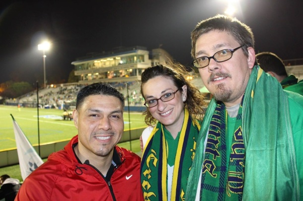 Cross Island Crew Members, Oscar, Janine & Kevin at the match! (photo credit - Eytan Calderon)