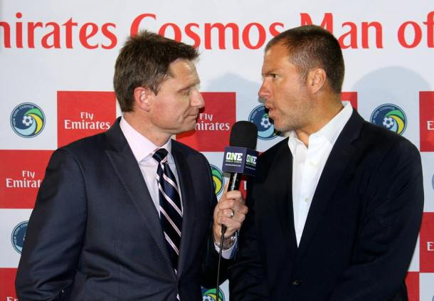 Coach Savarese Speaking with ONE World Sports after the match Photo Credit - Eytan Calderon