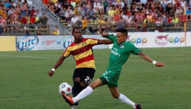 David Diosa battling for the ball Saturday night vs. The Strikers. Photo Credit - NY cosmos