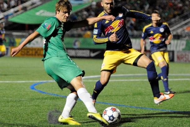Mads Stokkelien battling by Red Bulls - photo credit - NY post.com