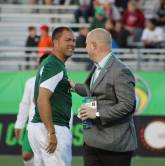Cosmos COO Erik Stoker With Words Of Encouragement For Savarese before the match- Photo Credit - Eytan Calderon