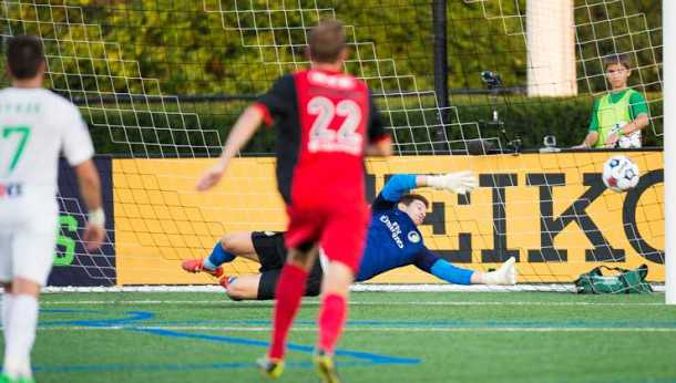 Jimmy Maurer Gives Up One of Three Goals Last night against the Scorpions. Photo Credit Jason Lind