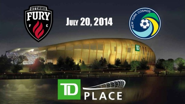 The New York Cosmos & Ottawa Fury will play the first NASL match in TD Place today. Photo Credit - Ottawafury.com