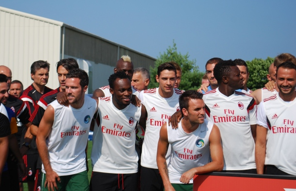 Mario Balotelli and AC Milan pose for picture with the NY Cosmos. Photo Credit - Cesar Trelles