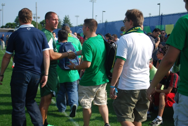 Coach Gio Savarese thanks a small group of Cosmos Supporters in attendance. Photo Credit- Cesar Trelles