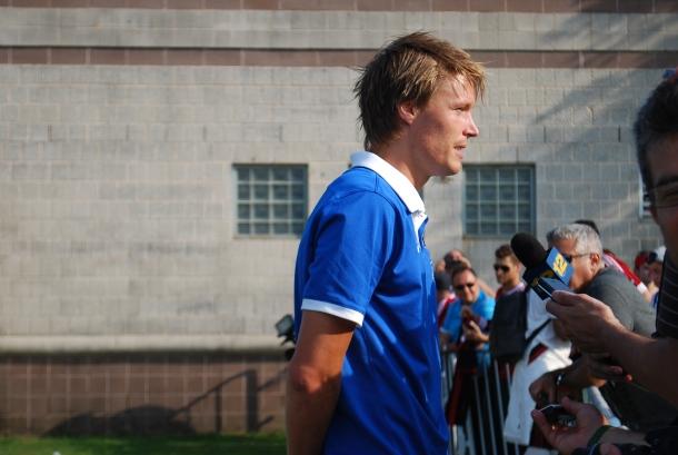 Mads Stokkelien being interviewed after practice. Photo Credit- Cesar Trelles