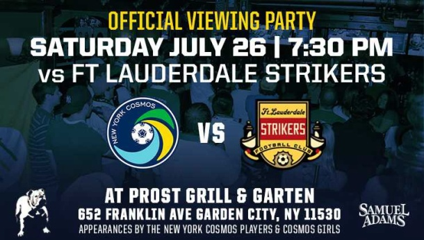 NY cosmos will be hosting their away viewing party at Prost this Saturday. Photo credit - NY cosmos