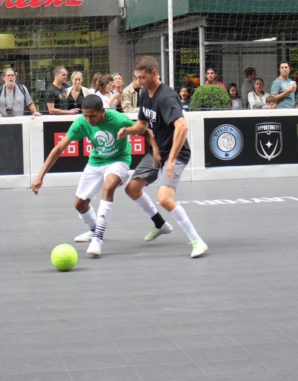 Borough Boys Anthony Stephens battles for ball Sunday during Street Soccer! Photo credit - Janine Odell