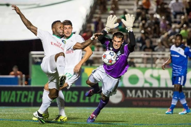 Goalkeeper have stopped nearly every shot the Cosmos make on goal including this once Wednesday night. Photo credit - Jason Lind