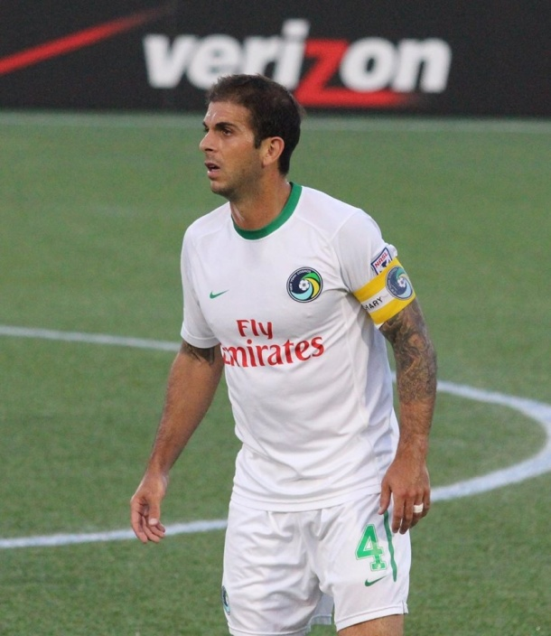 Carlos Mendes during Wednesday's match. Photo credit - Eytan Calderon