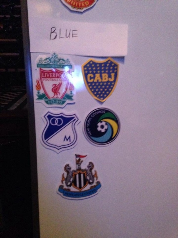 The BLUE group comprised of supports from  Liverpool, Newcastle, Millionarios, Boca Juniors and THE FIVE POINTS- photo credit - Aquiles Rodriguez