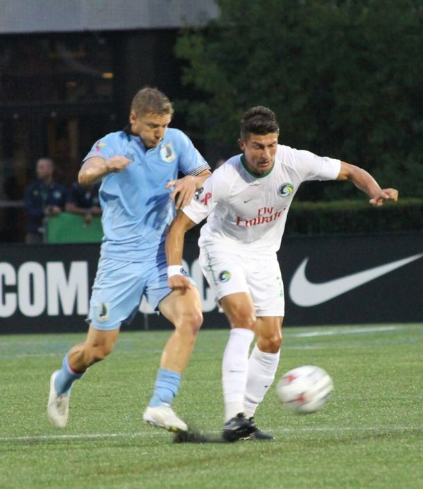 Stefan Dimitrov Was Asked By Coach Savarese To Play Up Front Solo - Here He Is Battling. Photo Credit - Kathleen Vera