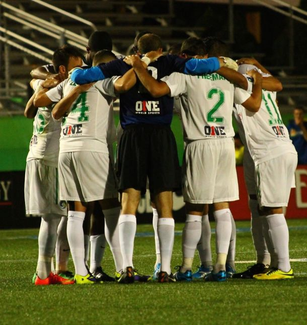 The Cosmos Huddle After Half Time That Ignited Their Second Half Charge - Photo Credit - Kathleen Vera