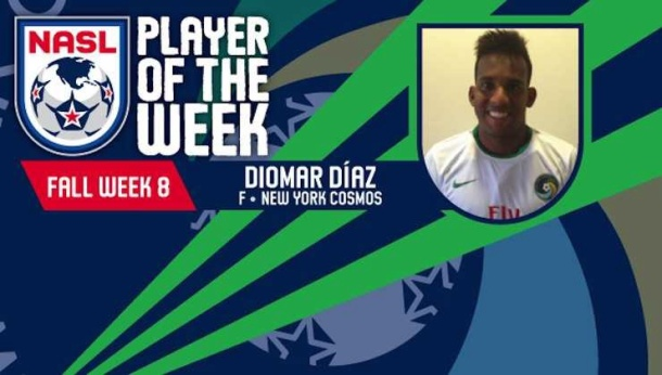 Diomar Diaz was player of the week last year in week 8 for his 2 goals against Ft. Lauderdale. Photo credit - NASL.com