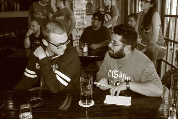 Bill & Luis soaking in what Rafael Morffi is telling them. Photo Credit - Eytan Calderon