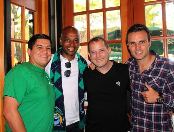 Marcos Senna & Ayoze post with the photographer and the writer of this post. Photo Credit - Eytan Calderon