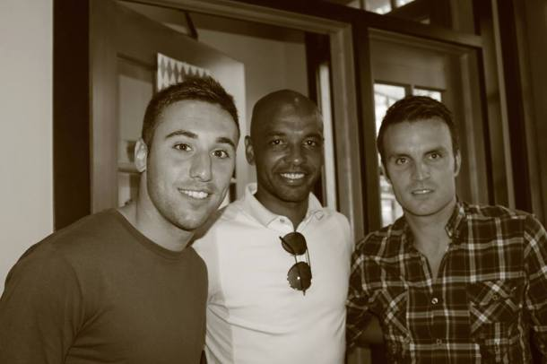 From left to right - Jimmy Mulligan, Marcos Senna & Ayoze came out to watch the Cosmos take on FC Edmonton. Photo Credit - Eytan Calderon