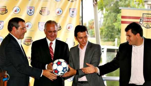 Bill Peterson poses with the new Brazilian ownership group that purchased the rights to the Ft. Lauderdale Strikers in September. Photo Credit - NASL