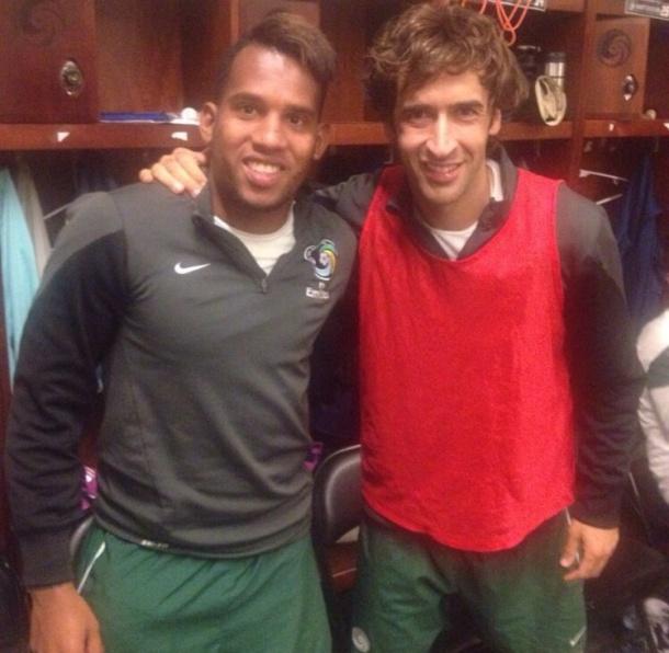 Raul with cosmos striker Diomar Diaz  Photo via Instagram