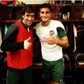 Raul with Cosmos striker Sebastian Guenzatti