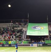 Jimmy Maurer looks out onto the pitch a full moon sits above him this past Saturday vs. Ottawa. Photo Credit - Eytan Calderon