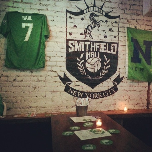 The seen at Smithfields Hall last night where Cosmos supporters watched their final match of the 2014 season. Photo Credit - NY Cosmos