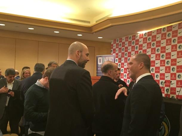 Giorgio Chinaglia Jr chats with head coach Savarese Photo Credit - Cesar Trelles