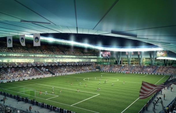A rendition of the Cosmos proposed stadium that will hopefully be approved at Elmont Crossings.